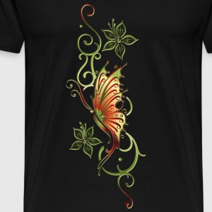 Floral ornament with flowers and butterfly - Men's Premium T-Shirt