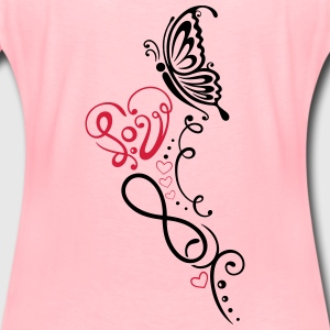 Heart with lettering, butterfly and infinity  - Women's Premium T-Shirt