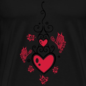 Hearts with tribal, flowers and butterflies.  - Men's Premium T-Shirt