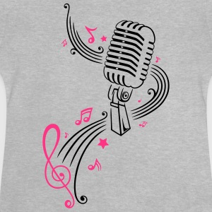 Retro microphone with music notes and clef. - Baby T-Shirt