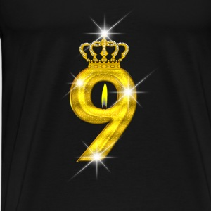 9 birthday - Crown - candle - gold Sports wear - Men's Premium T-Shirt