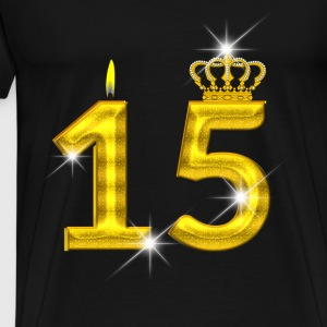 15 birthday - Crown - candle - gold Tops - Men's Premium T-Shirt