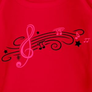 Music, clef with stars and music notes - Organic Short-sleeved Baby Bodysuit
