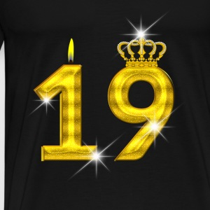 19 birthday - Crown - candle - gold Baby Bodysuits - Men's Premium T-Shirt