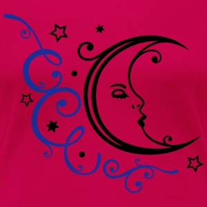 Feminine moon with ornament and stars. - Women's Premium T-Shirt