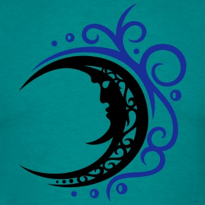 Large moon with Tribal ornament. - Men's T-Shirt