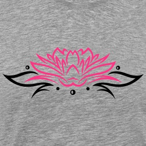Large lotus flower with small tribal. - Men's Premium T-Shirt