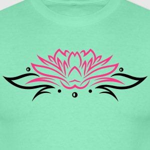 Large lotus flower with small tribal. - Men's T-Shirt