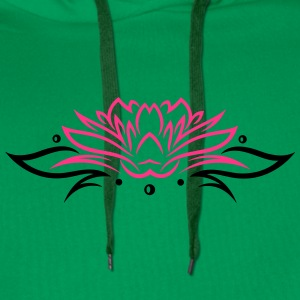 Large lotus flower with small tribal. - Men's Premium Hoodie