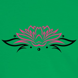 Large lotus flower with small tribal. - Men's Ringer Shirt