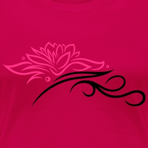 Large lotus flower with small tribal. - Women's Premium T-Shirt
