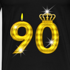90 birthday - Crown - candle - gold Baby Long Sleeve Shirts - Men's Premium T-Shirt