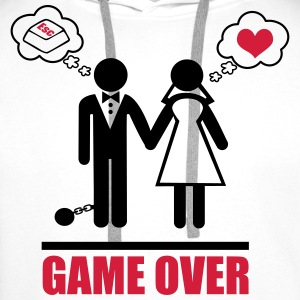 Game over,bachelor, party,Couples,Funny,Couple - Men's Premium Hoodie