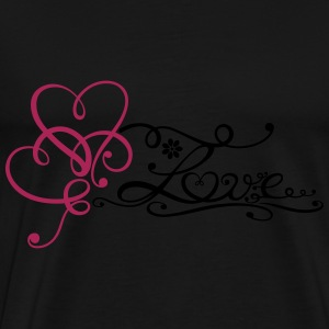 Two big hearts with lettering and flower. - Men's Premium T-Shirt