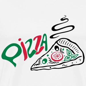 Big slice of Pizza with lettering, Italian food. - Men's Premium T-Shirt