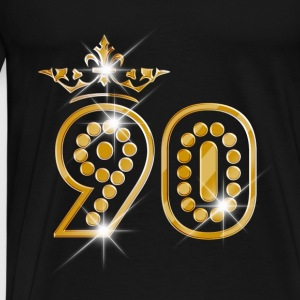 90 - Birthday - Queen - Gold - Burlesque Baby Bodysuits - Men's Premium T-Shirt