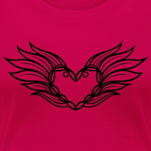 Large heart with wings and feathers, filigree. - Women's Premium T-Shirt