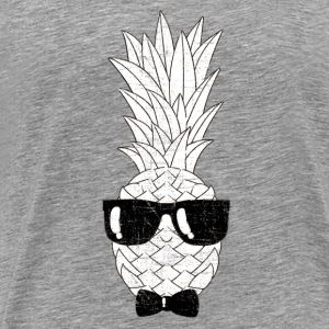Pineapple With Sunglasses & Bow Tie Illustration Long Sleeve Shirts - Men's Premium T-Shirt