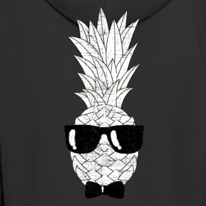 Pineapple With Sunglasses & Bow Tie Illustration Langarmede T-skjorter - Premium Hettejakke for menn