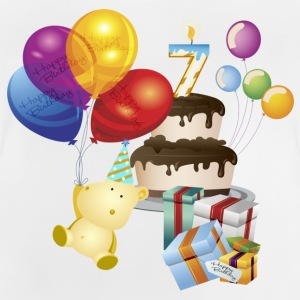 7th Birthday Cake balloons and teddy - Baby T-Shirt