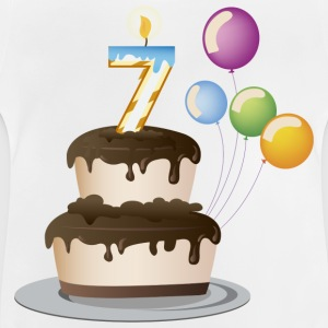 7th Birthday cake and candles - Baby T-Shirt