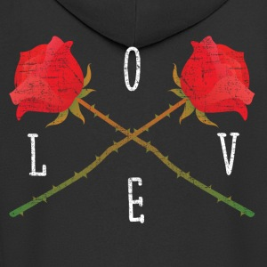 Love | Rose Crossed | Cool Gift Design T-Shirts - Men's Premium Hooded Jacket