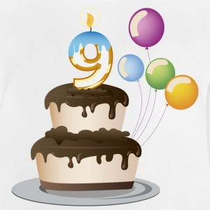 9th Birthday cake and candles - Baby T-Shirt