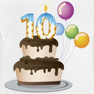 10th  birthday candle cake and balloons - Baby T-Shirt