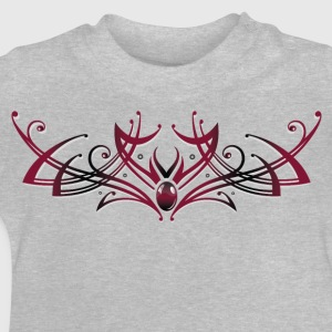 Filigree Tribal with gemstone, red and black - Baby T-Shirt