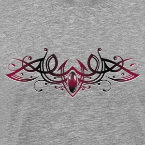 Filigree Tribal with gemstone, red and black - Men's Premium T-Shirt