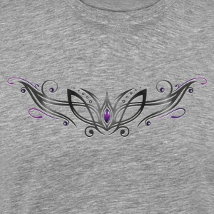 Filigree Tribal with gemstone, purple and black - Men's Premium T-Shirt