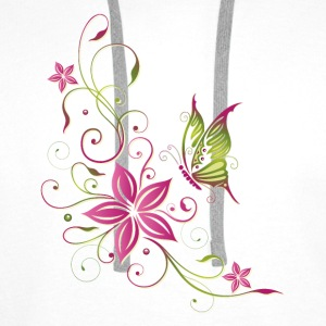 Pink and green flowers with butterfly - Men's Premium Hoodie