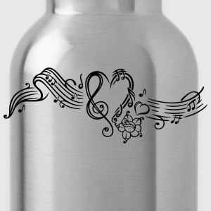 Music sheet with music notes and clef - Water Bottle