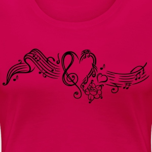 Music sheet with music notes and clef - Women's Premium T-Shirt