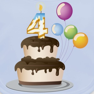 4th birthday candle cake and balloons - Baby Organic Bib