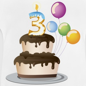 3rd  birthday candle cake and balloons - Baby T-Shirt