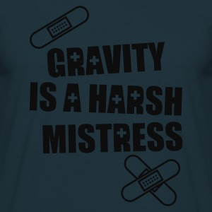 'Gravity is  a harsh mistress' hoody (grey print) - Men's T-Shirt