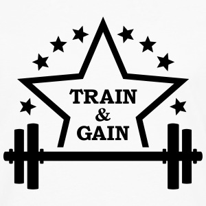 Train + gain Fitness Gym Workout Trening T-skjorter - Premium langermet T-skjorte for menn