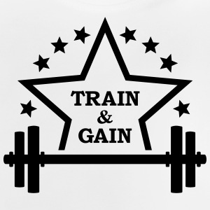 Train + gain  Dumbbell weights Squat workout icon Shirts - Baby T-Shirt