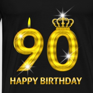 90 - happy birthday - birthday - number gold Baby Bodysuits - Men's Premium T-Shirt