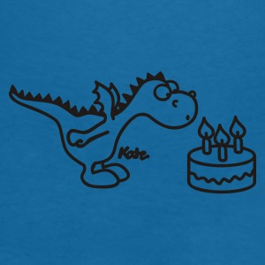 Svart Happy Birthday, Little Dragon Accessoarer - T-shirt med v-ringning dam