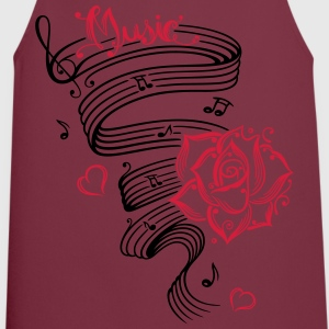 Music notes with music sheet and rose - Cooking Apron