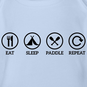 eat sleep paddle paddling Canoe Kayak repeat saying Shirts - Organic Short-sleeved Baby Bodysuit