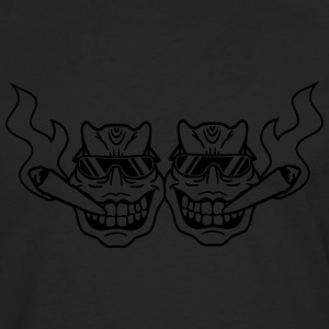 2 friends team party face head smoking drugs cool  T-Shirts - Men's Premium Longsleeve Shirt