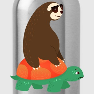 Sloth With Sunglasses Riding On Tortoise T-Shirts - Trinkflasche