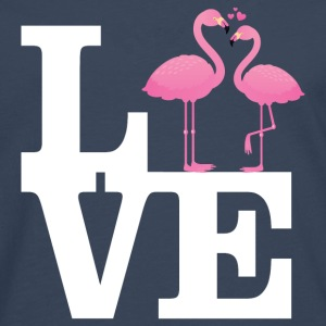 Love Flamingo Couple with heart T-Shirts - Men's Premium Longsleeve Shirt