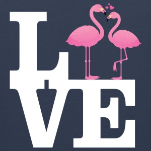 Love Flamingo Couple with heart T-Shirts - Männer Premium Tank Top