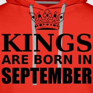 kings are born in september T-Shirts - Men's Premium Hoodie