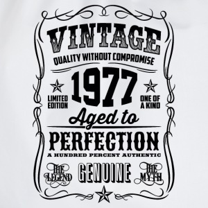 1977 Aged to Perfection Black print - Drawstring Bag