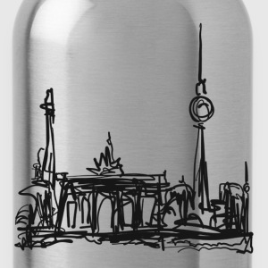 TV Tower, Berlin, Brandenburg Gate, drawing T-Shirts - Water Bottle